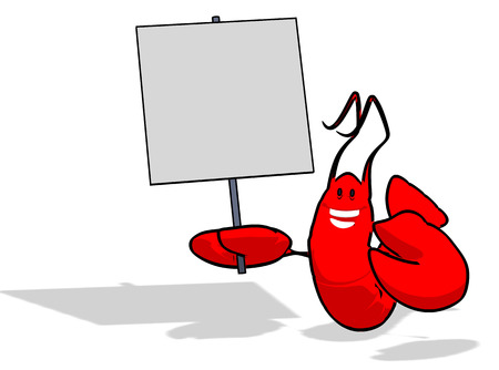 canadian flag: Lobster holding signboard and Canadian flag