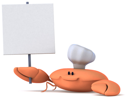 crab legs: Crab wearing chefs hat holding a signboard