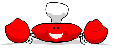 Crab wearing chefs hat Stock Photo