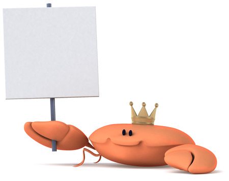 Crab wearing crown holding a signboard