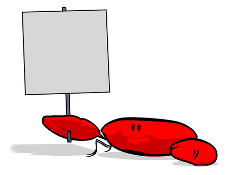 Crab holding a signboard