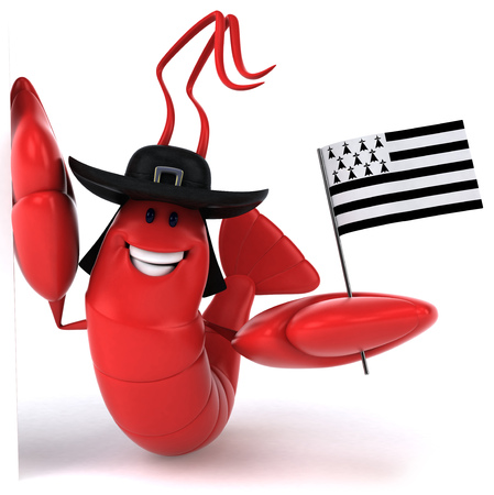 Lobster wearing hat and holding flag of brittany Stok Fotoğraf