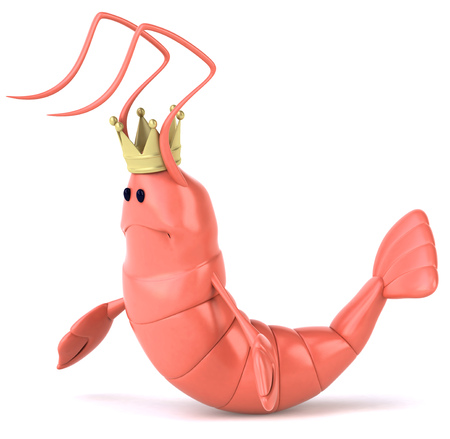 Shrimp with crown feeling sad