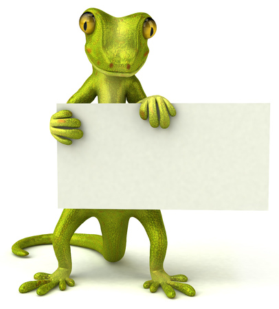 Gecko holding signboard Stock Photo