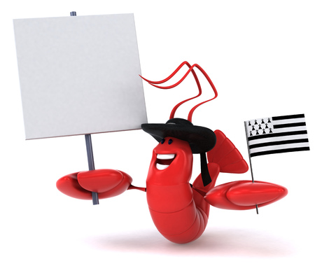 Lobster wearing hat with flag of brittany and signboard