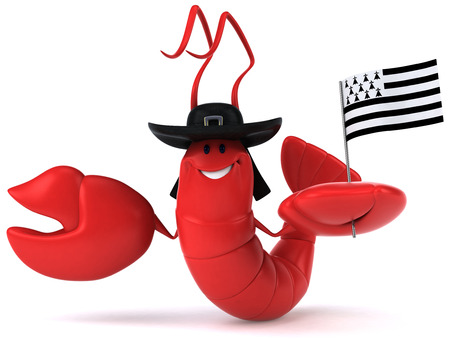 Shrimp wearing hat and holding flag of brittany