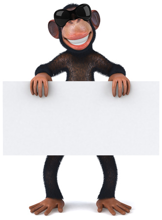 3D chimpanzee character holding a signboard