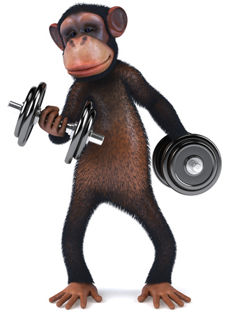 3D chimpanzee character with dumbbells
