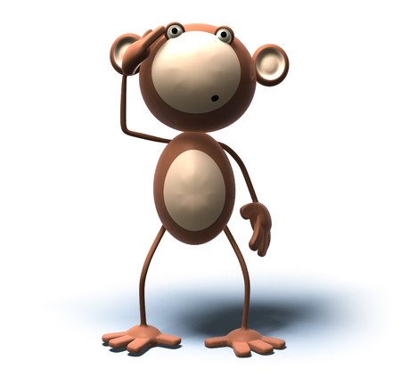 Cartoon monkey standing and looking