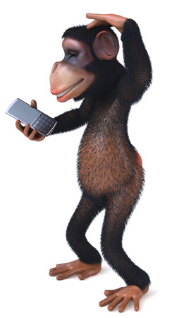 3D chimpanzee with a mobile phone