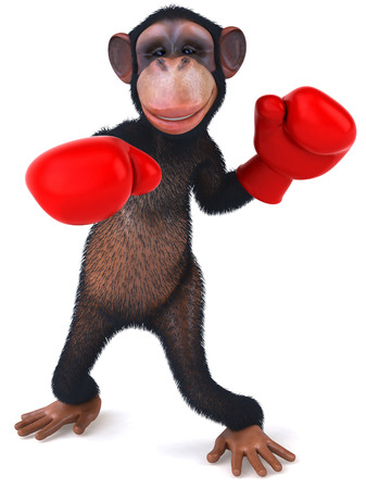 3D chimpanzee with boxing gloves punching