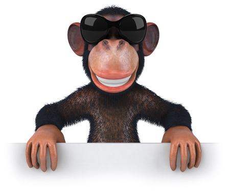 3D chimpanzee with sunglasses smiling