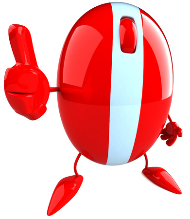 3D mouse character showing thumbs up