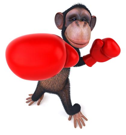 padding: 3D chimpanzee with boxing gloves punching