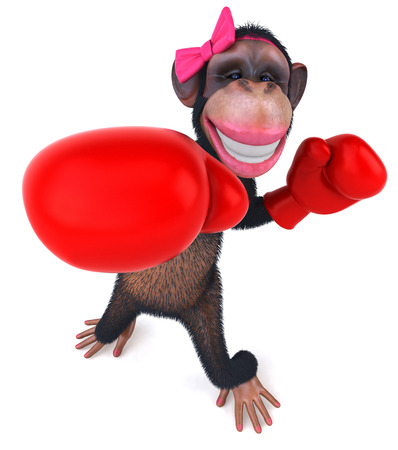 3D chimpanzee girl with boxing gloves punching
