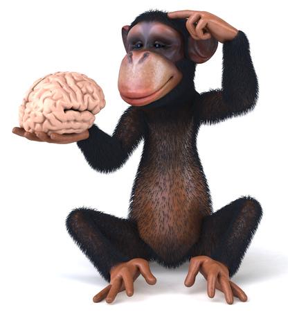 3D chimpanzee holding a brain Stock Photo