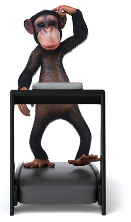 3D chimpanzee on treadmill