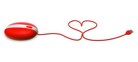 3D mouse with heart shaped cable Stock Photo