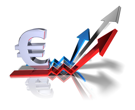 3D Euro currency symbol with financial growth concept Stock Photo