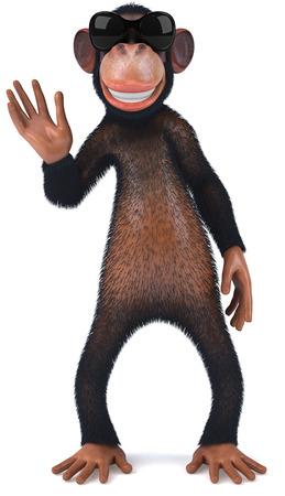 3D chimpanzee with sunglasses waving Stock Photo
