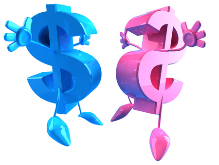 3D Dollar currency symbol characters