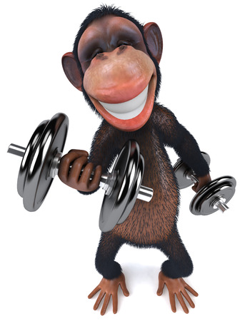 3D chimpanzee with dumbbells Stock Photo