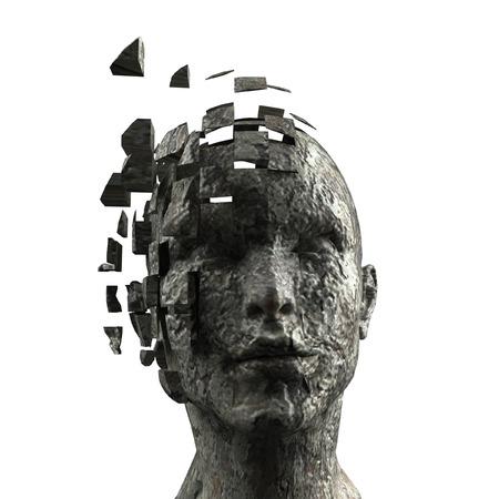 3D verbrijzelde stenen kop