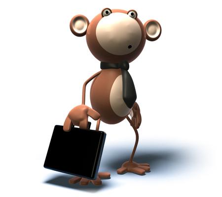 Cartoon businessman monkey with briefcase