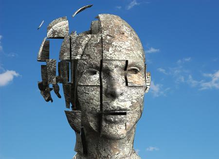 3d cassée concept de tête de pierre
