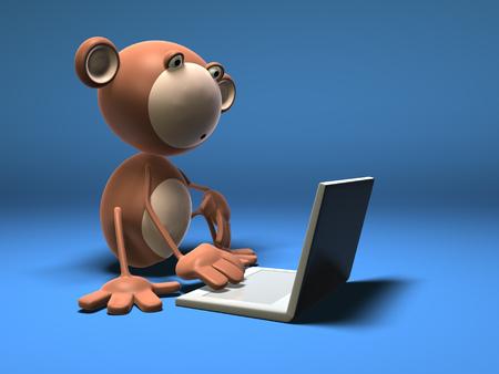 Cartoon monkey using a laptop