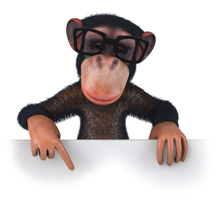 3D chimpanzee with glasses pointing downward