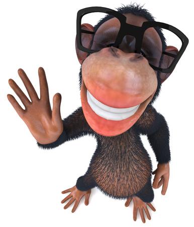 greet: 3D chimpanzee with glasses waving