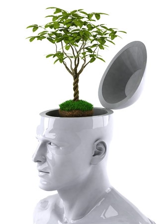 preserved: 3D human mind concept with plant