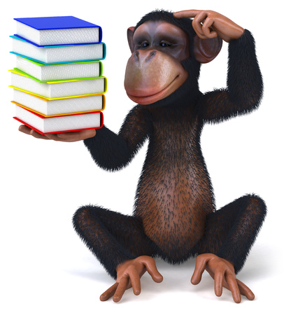 3D chimpanzee with a stack of books Stock Photo
