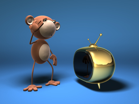 Cartoon monkey with a television