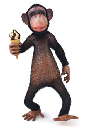 3D chimpanzee holding an ice cream