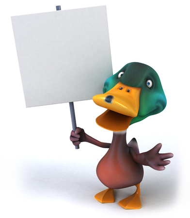 Cartoon duck holding a placard