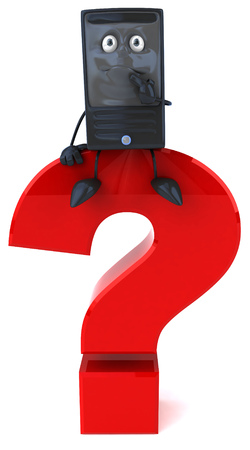 Cartoon computer character sitting on a question mark Stock Photo