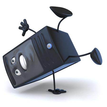 Cartoon computer character doing handstand