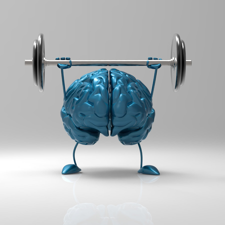 3D brain character lifting a barbell