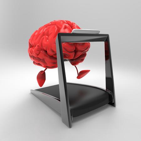 3D brain character running on treadmill Stockfoto