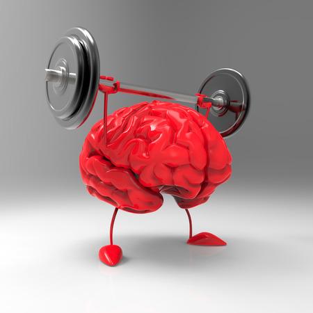 3D charakter mózgu podnoszenia sztangi Zdjęcie Seryjne