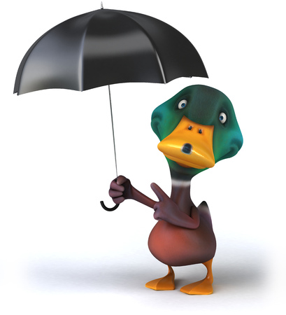 Cartoon duck holding and pointing to an umbrella