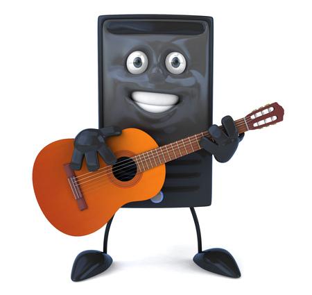 Cartoon computer character playing guitar