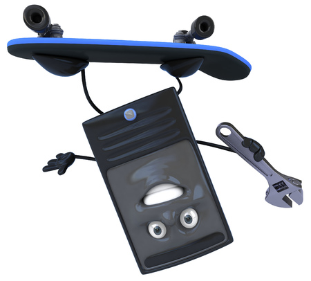Phone character on skateboard holding wrench