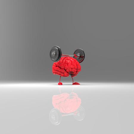 Brain character lifting weights