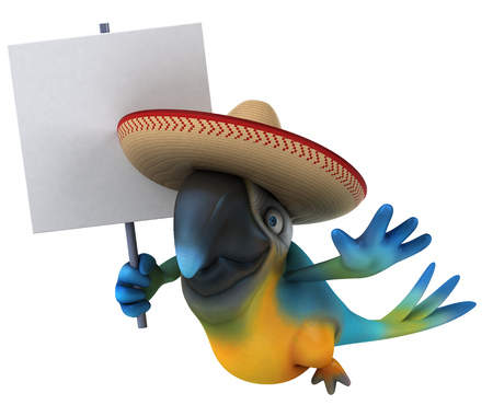 Parrot character with sombrero holding a signboard Stock Photo