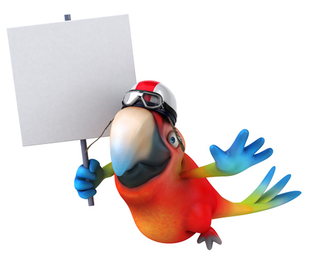 Parrot character with pilot helmet holding a signboard Stock Photo