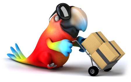 Parrot character with shades pushing a trolley with boxes