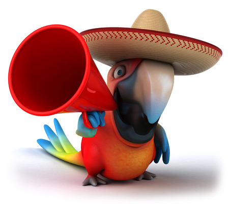 Parrot character with sombrero using a megaphone